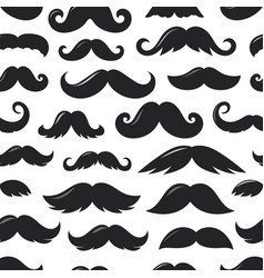 black silhouettes moustache v seamless pattern vector image