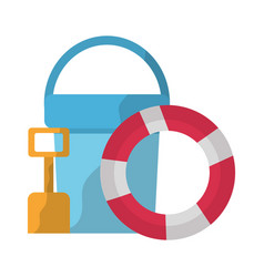 Bucket shovel and float accessorie beach vacations vector