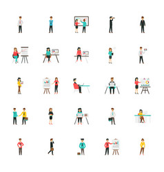 Business characters flat icons set vector