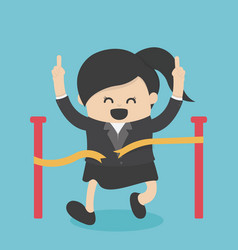 Business woman reaching finish line vector