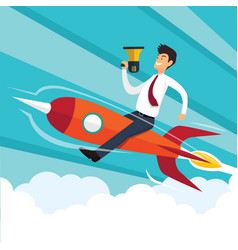 businessman sitting on a rocket vector image
