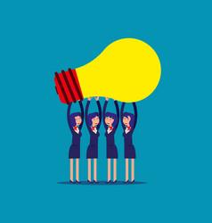 Businesswoman team holding idea light bulbs above vector
