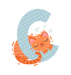 Cartoon cat sleeps on letter c vector