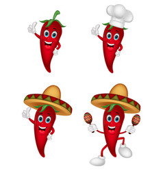 Cartoon chili collection set vector