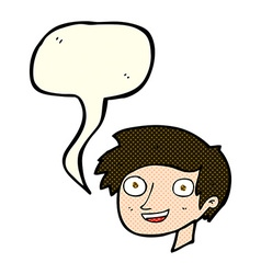 Cartoon happy boy face with speech bubble vector