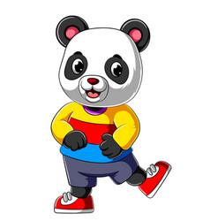 Cartoon happy panda with smile wearing sport shirt vector