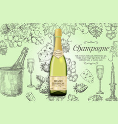 Champagne poster design template vector