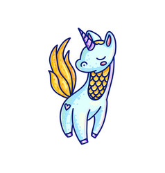 Charming colorful unicorn drawing vector