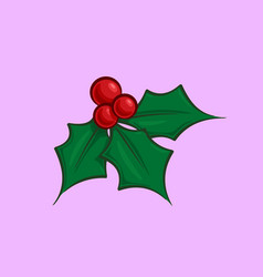 Christmas cartoon icon - holly mistletoe vector