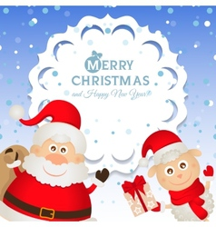 Christmas greeting card with Santa Claus and a vector image