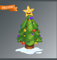 christmas tree decorated with a smiling yellow vector image