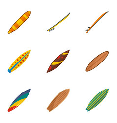 classic surf board icon set flat style vector image