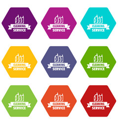 Cleaning service icons set 9 vector