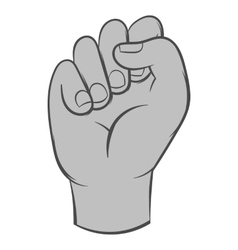 Clenched fist icon black monochrome style vector