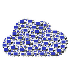cloud collage of delivery lorry icons vector image