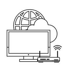 computer with router and globe in black and white vector image