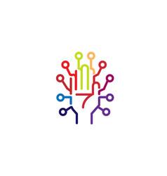Creative abstract hand technology logo vector