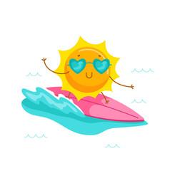 Cute cartoon sun character wearing heart vector