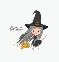 cute witch fantastic character flying in broom and vector image
