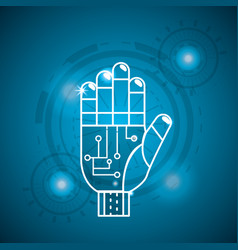 Cyberspace hand with circuits system connect vector
