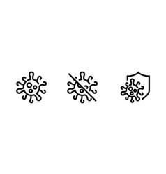 Danger microbe or virus editable line icons vector