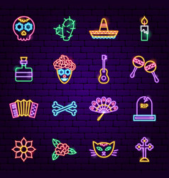 day of the dead neon icons vector image
