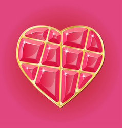 diamond heart on pink background vector image