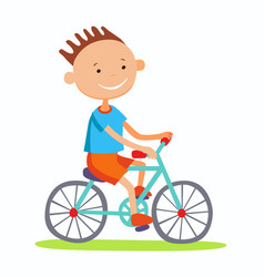 editable of boy cycling vector image