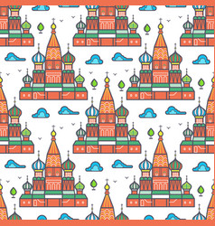 famous moscow cathedrale seamless pattern design vector image