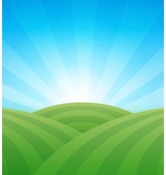 farm green fields with hills under blue clear vector image