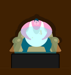 fat guy is sitting on chair and tv glutton thick vector image