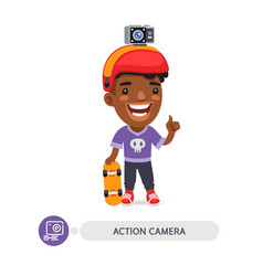 Flat cartoon character with action camera vector