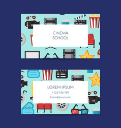 flat cinema icons business card template vector image