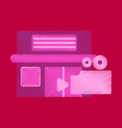 flat icon in shading style building cinema camera vector image