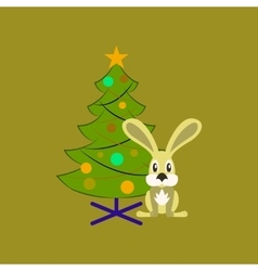 Flat on background of Christmas tree vector
