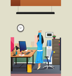 Girl stretching in front of the computer vector