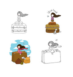 Girl suitcases and a dog theme of travel and vector