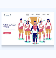 girls soccer team website landing page vector image