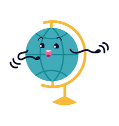 globe flat icon smiling earth character vector image