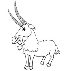 goat farm animal character coloring book page vector image