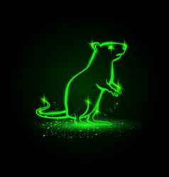 Green neon standing rat on hind legs rat vector