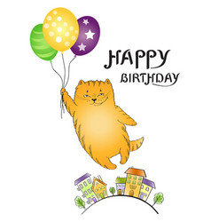 greeting card with flying red cat with balloons an vector image
