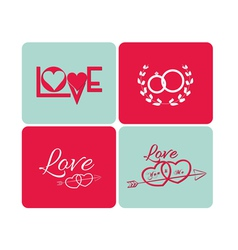 Happy valentines day cards with ornaments vector