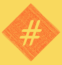 Hashtag sign red scribble vector