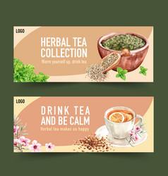 Herbal tea banner design with mint peach flower vector