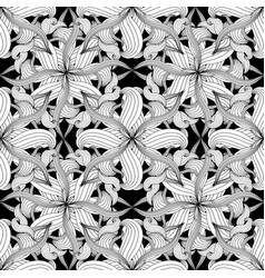 Intricate abstract black and white floral vector
