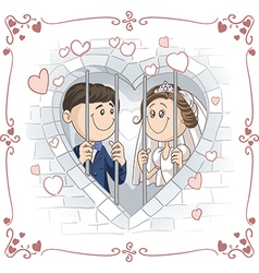 Just Married Couple in Jail Cartoon vector