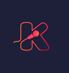 K letter logo made mike cable vector