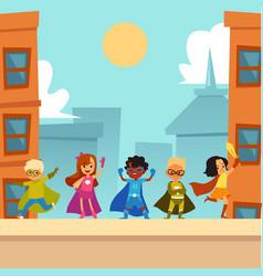 Kids superheroes team standing outdoors in brave vector