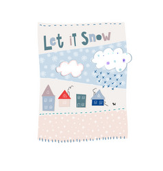 Let it snow flakes fall winter season postcard vector